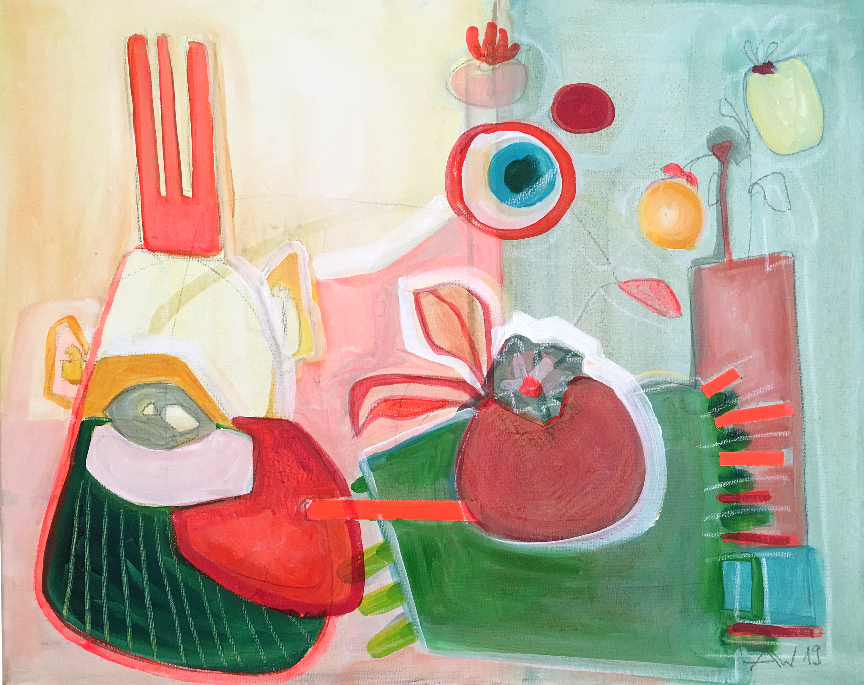Stillleben mit König, Acryl auf Leinwand, 40x50cm, 2019